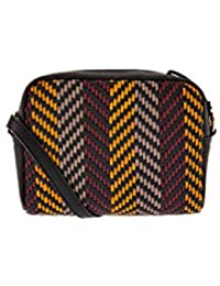 Accessorize London Anne Woven Cross Body Bag Women's Sling (Darks-Multi)