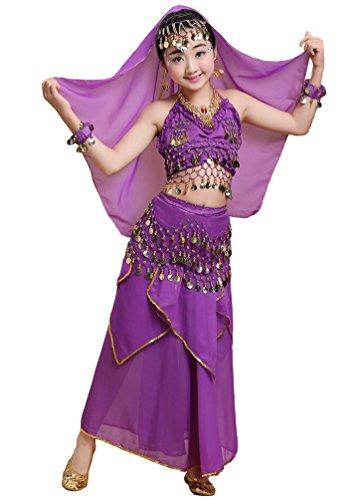 Anguang Mädchen Bauchtanz Rock Set Kinder Halloween Tanz Kostüm Dunkel Violett#2 M