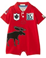 Hatley Baby Boys Infant Shorty Rugby Pique Moose Romper