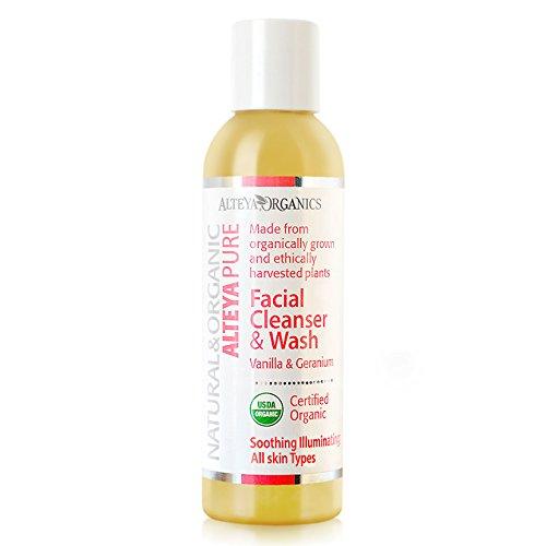 Alteya Organic jabón líquido limpiador facial y lavado 150ml - vainilla y geranio - USDA certificado orgánico, jabón biodegradable - producto natural purificador -apto para todo tipo de piel