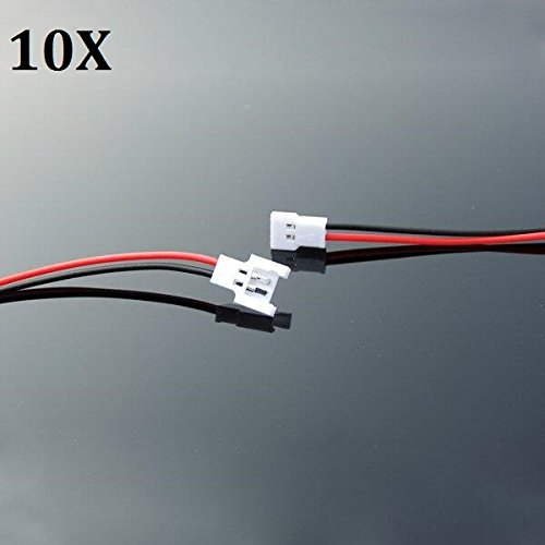 LaDicha 10 X Diy 1,25 mm 2-Polig Micro Männlich Stecker Buchse Kabel Für RC Lipo Akku FPV Drohne Quadcopter (Bau Kostüm Diy)