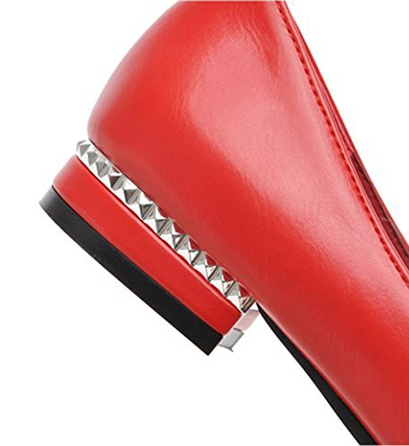 Aisun Damen Lederoptik Spitz Metall Niedriger Blockabsatz Elegante Pumps Slipper Rot
