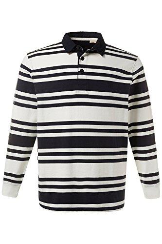 JP 1880 Herren große Größen bis 7 XL | Rugby Shirt mit Streifen | 100 % Baumwolle | Sweatshirt mit Polo-Kragen | Knopfleiste & Langarm | offwhite XL 708257 21-XL (Streifen-polo-pullover)