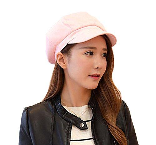 Damen Winter Ballonmütze Schirmmütze Barett Maler Mütze Mit Visor (Pink) (Hot Pink Tweed)