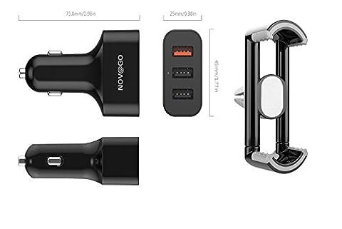 NOV@GO® Chargeur Allume cigare triple ports USB puissant (7.2A) +