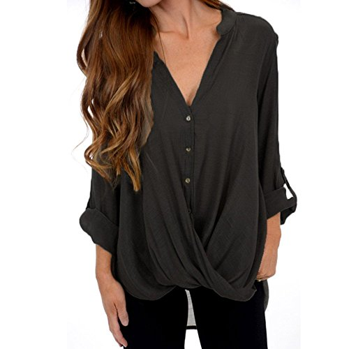 Women's Casual Roll Long Sleeve Sexy V-Neck Wrap Front Button Shirts for Ladies Teen Girls Tunic Tee Shirts Blouse Tops for Ladies Teen Girls Pullover Sweatshirt Jumpers Plus Size