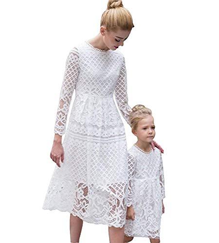 Minetom Estate Madre E Figlia Genitore-Bambino Gonne Sottili Donne Collo Rotonda Casual Manica Lunga Pizzo Abito Mini Vestire Famiglia Dress Bianco 120 (Figlia)