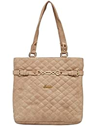 ESBEDA Beige Checked Pu Synthetic Material Handbag For Women