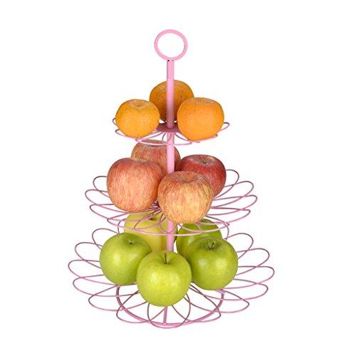 CKH Rose Salon Creative Petal Maison Multi-couche Fruit Plate Moderne Multi-fonctionnelle Fruit Basket Trois-couche Fruits Plaque Européenne Bonbons Plat