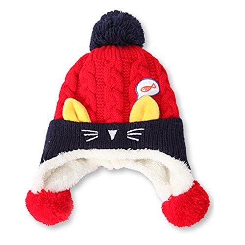 te Kopf Cap, Kaiki Baby Jungen Mädchen Beanie Katze Baumwolle Hut Kinder Print Stricken Hüte (C) (Beanie Baby Katze Kostüm)