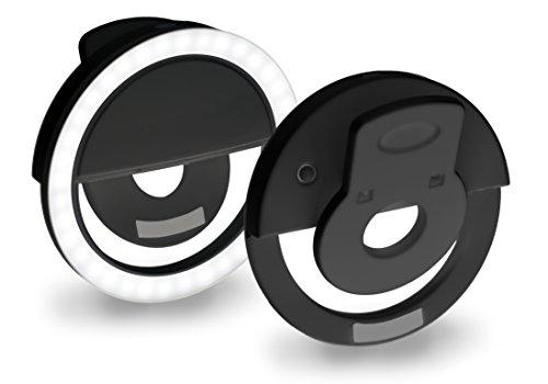 MyGadget Handy Selfie Licht - Ringlicht mit 36 LED Lampen - aufladbar über USB - Ringleuchte Kamera Zubehör für Smartphone u.a. Samsung iPhone 7, 6 - Schwarz