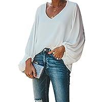 BELONGSCI Women's Casual Sweet & Cute Loose Shirt Balloon Sleeve V-Neck Blouse Top White