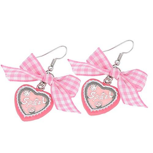Gipfelzauber Trachtenschmuck Ohrhaken Herz in pink und rosa mit Schleife und Schriftzug Spatzl