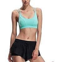 Almohadillas removibles inalámbrico Criss espalda yoga Yoga mujeres sujetador deportivo , green , m