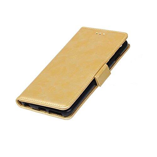 iPhone Case Cover Solid Folio couleur Stand Wallet Case Avec 3 Card 1 Cash Slots latérale magnétique Buckle Pattern Case pour IPhone 6S Plus ( Color : Brown , Size : IPhone 6S Plus ) Gold