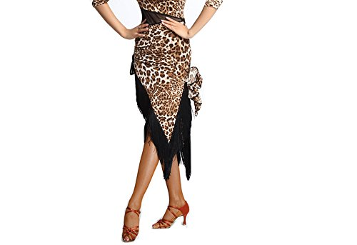 Women Latin Dance Skirt New Tassels Dance Performance Costume Dress Brown