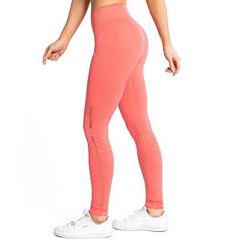 SMILODOX Damen Seamless Leggings Snip, Größe:XS, Farbe:Koralle - Seamless Ärmelloses T-shirt