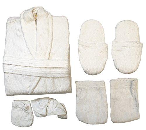 Set completo pz. 6 accappatoio spugna 100% cotone uomo donna P01 Bianco