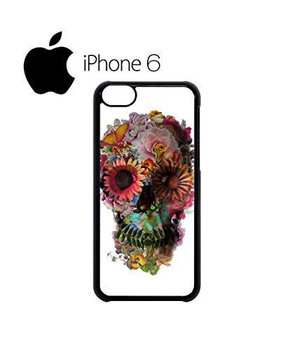 Skull Flower Art Peace Swag Mobile Phone Case Back Cover Hülle Weiß Schwarz for iPhone 6 White Schwarz