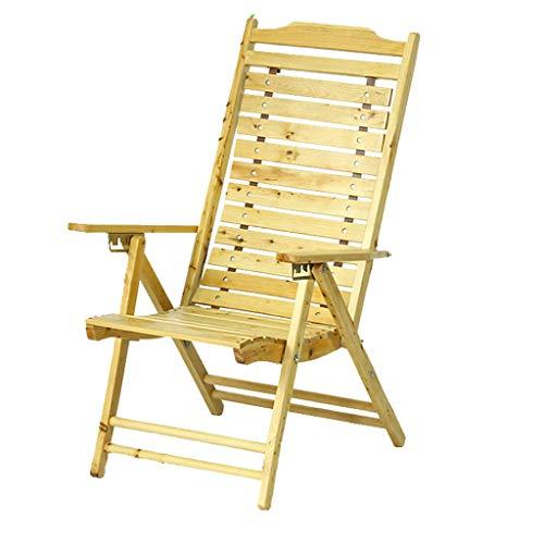 Fzw Chaise pliante en bois avec chaise unique réglable (Couleur : Couleur du bois, taille : 112 * 40 cm)