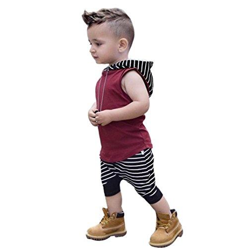 Outfits Sets Kind Janly 0-3 Jahre alt Jungen Kapuzen Weste Tops + gestreiften Shorts Hosen Sommer ärmellose Anzüge (1-1.5 Jahre alt, Rot) Kapuze Hose Top