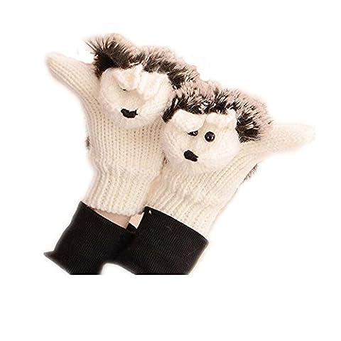 "♥ Loveso ♥- Handschuhe 2017 Herbst Winter Frauen Handschuhe Cartoon Gestrickte Warme Igel Handschuhe (23 cm x 9 cm / 9.05 ""x 3.54"", Grün)"