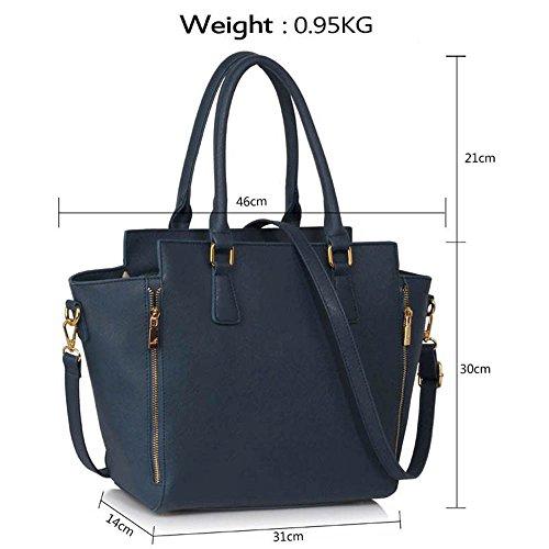 Meine Damen Umhängetaschen Frauen Große Designer Handtaschentoteschulterkunstleder Modische Taschen (A - Schwarz) A - Marine