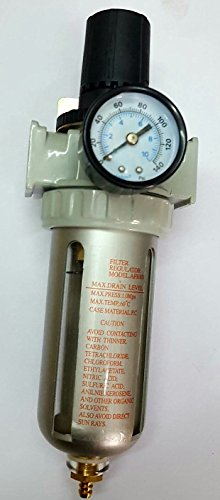 TOOLSCENTRE Silver Air Filter Regulator Compressor 1/4 Inch Pressure Gauge (Silver Black)