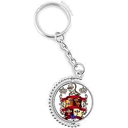 DIYthinker Emblema Medieval Armadura Caballeros de Europa rotativo Titular de la Clave Anillo de la Cadena