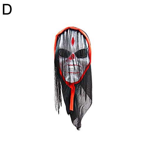 Cosplay House Kostüm - Renendi Halloween Requisiten Gruseliger Totenkopf Simulieren Haar Maske Maskenade Cosplay Haunted House Kostüm Zubehör Party Supplies