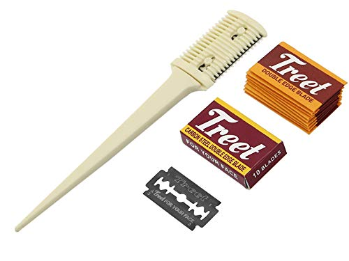 Effilierer Effiliermesser zum Ausdünnen und Schneiden von Haaren mit 10 Ersatzklingen -