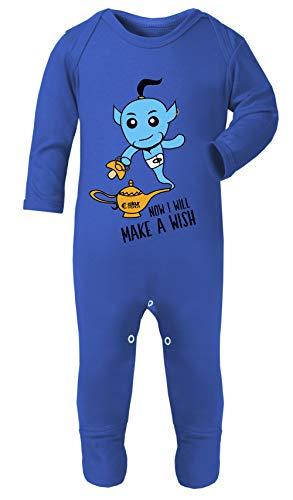 12 Monat Großbritannien 9 Kostüm - Colour Fashion Aladdin Jinn Kostüm Pyjama Footies 100% Baumwolle hypoallergen Gr. 6-12 Monate, königsblau
