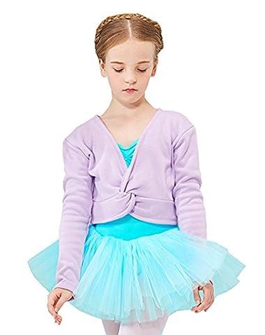 Cystyle Herbst Winter Plus Kaschmir Kinder Ballett Jacke Mädchen Ballettjacke Wickeljacke Bolero Jäckchen Schulterjacke Pullover für das Ballett Training (140CM/Körpergröße 124-128cm, Lila)