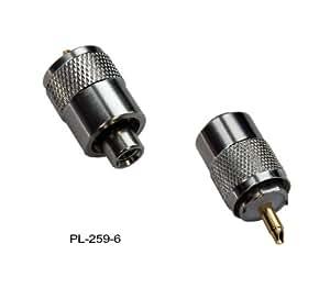 CONNECTEUR PL259 MÂLE PLAQUÉ acier affiné POUR CÂBLE RG58/U avec pin or pour Câble d'antenne UKW / VHF Marine coaxial RG-58 - 259-6 connecteur