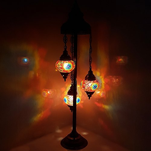 Turkish Moroccan Tiffany Style Glass Mosaic Floor Lamp Night Light - MC7 X 3 Bulb Floor Lamp*