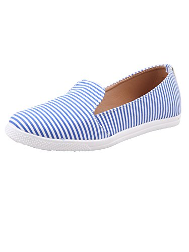 Adorn Blue Synthetic Leather Women Casual Bellies