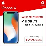 Apple iPhone X (silber) 64GB Speicher Handy mit Vertrag (Vodafone Smart XL) 11GB Datenvolumen 24 Monate Mindestlaufzeit
