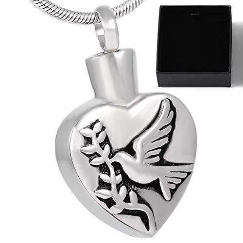 WANZIJING Urne Halskette für Asche Anhänger, Edelstahl Dove Olive Branch Herz wasserdichte Feuerbestattung Halskette