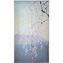 Cortina de puerta estilo japonés Decoración Fuji con cerezo en primavera
