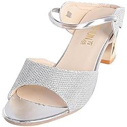Damen Rough Sandalen Xinan Fisch im Mund High Heel Schuhe (39, Silber)