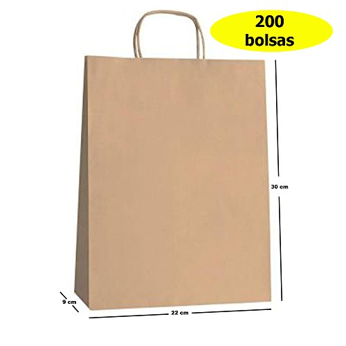 Yearol K03. 200 Bolsas papel kraft asas. 30 * 22 *