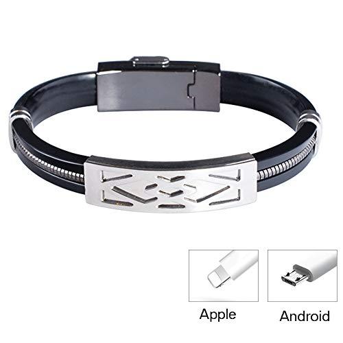 TIZIKJ Armband Kabel Daten Ladekabel für iPhone-Durable Geflochtene Leder Lade Handgelenk Manschette USB für iPhone Android,SilverAndroid -