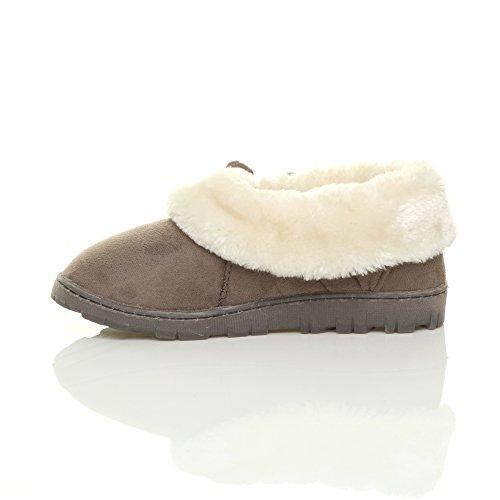 Signore Inverno Pelliccia Foderato Regalo Di Lusso Comode Scarpe Basse Pantofole Grigio Marrone Dimensioni
