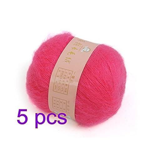 iknowy 5x weich natur Angola Mohair Kaschmir Wolle Strickgarn, Knäuel Garn, Hot Pink (Hot Pink Thread)