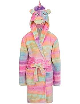 Bata con capucha en forma de unicornio arcoiris, multicolor, para niñas, en polar, tallas de 3 a 10 años