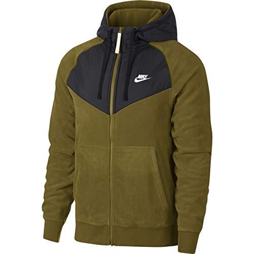 Nike Herren Core Full Zip Hoodie, Olive Canvas/Black/White, S Fitness-fleece-pullover
