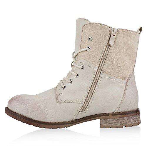 Damen Stiefeletten Schnürstiefeletten Worker Boots Zipper Schuhe Nude