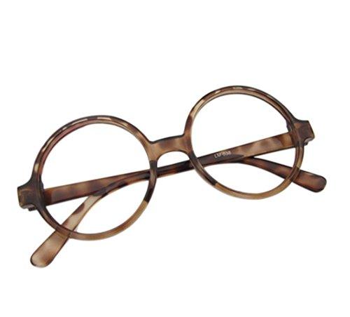 Westeng Kinderbrille Einfach Retro Großer Runder Jungen und Mädchen Kinderbrillenrahmen Spiegel Rahmen Kinderbrillengestell - Teebohnenfarbe
