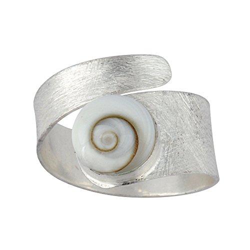 Silverly Frauen 925 Sterling Silber Weiß Shiva Eye Schale Spiralförmig Swirl Satin justierbare Ring (Damen Auge)