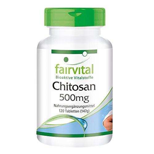 Chitosan 500mg - para 20 días - Alta dosificación - 120 comprimidos - fibra natural